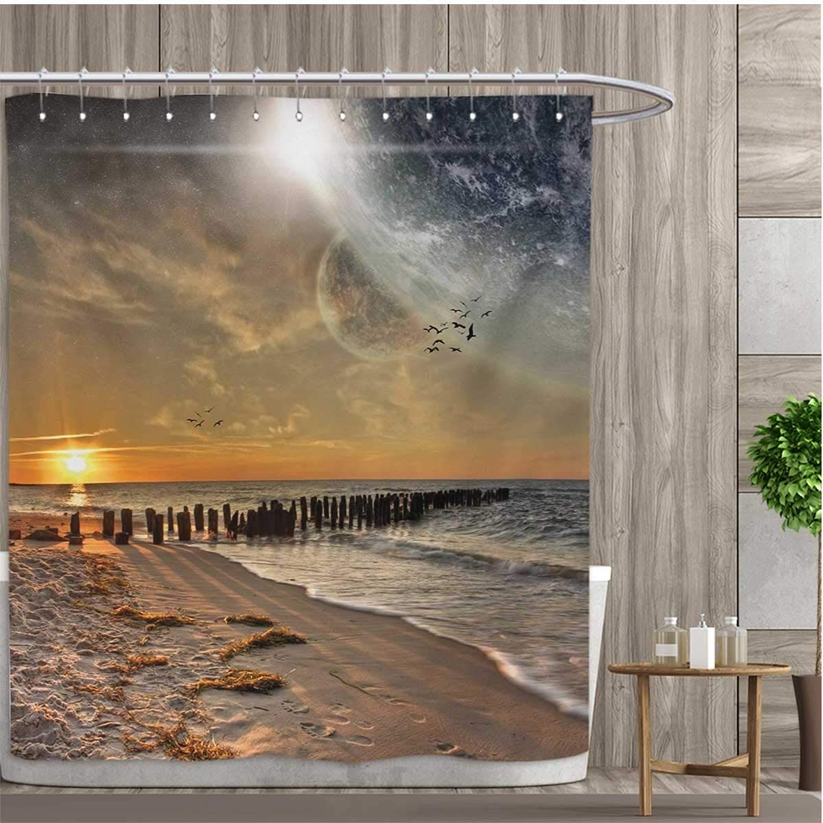 smallfly Space Bathroom Accessories Magical Solar Eclipse on Beach Ocean with Horizon Sun Moon Globe Gulls Flying View Shower Curtains Fabric Extra Long 48''x72'' Cream Orange