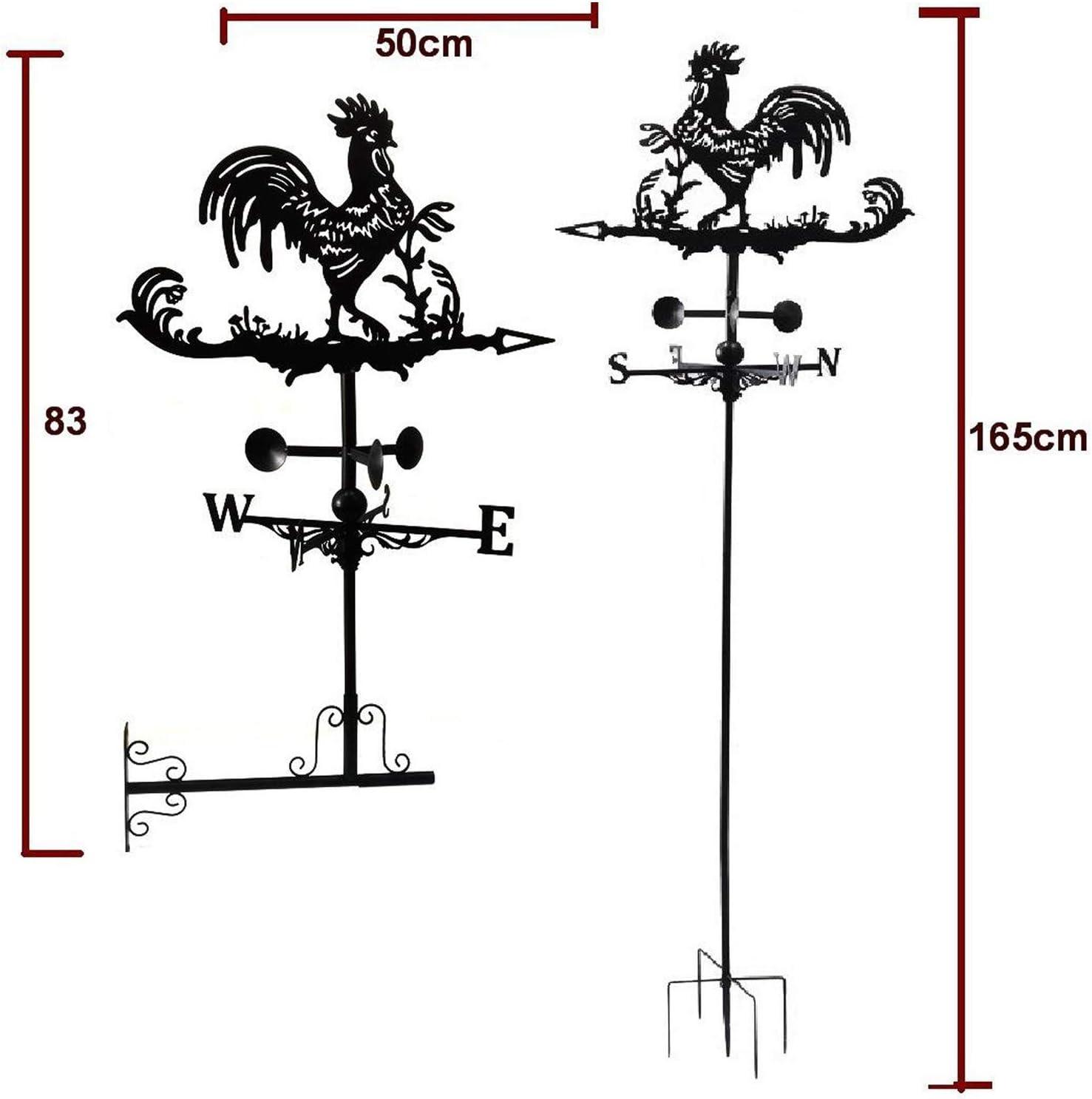 Fenteer Gallo Nero Indicatore di Direzione del Vento Kit Staffa in Metallo Allaperto Meteo Vane Ferro Gallo di Disegno della Decorazione Craft Giardino della