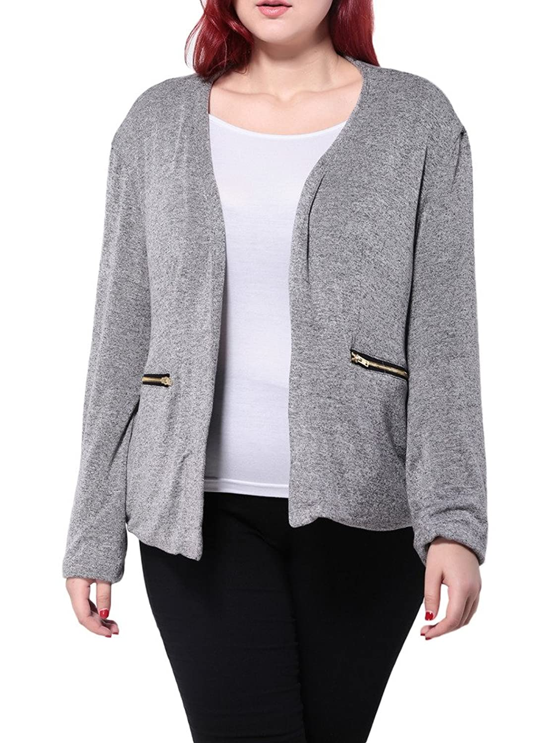 Woo2u Women Plus Size Casual Long Sleeve Open Front Lightweight Coat