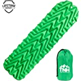 Inflating Lightweight Sleeping Pad With Dual Chambers By TNH Outdoors. Compact Size Inflatable Air Mat For Backpacking Hiking Or Camping!