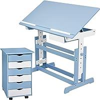 TecTake 800062 Kinderschreibtisch mit Rollcontainer Schreibtisch neig- & höhenverstellbar -Diverse Farben-