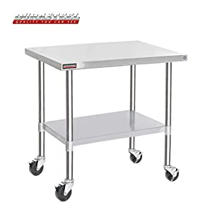 """DuraSteel Stainless Steel Work Table 30"""" x 48"""" x 34"""" Height w/ 4 Caster Wheels -Food Prep Commercial Grade Worktable - NSF Certified - Good For Restaurant, Business, Warehouse, Home, Kitchen, Garage"""