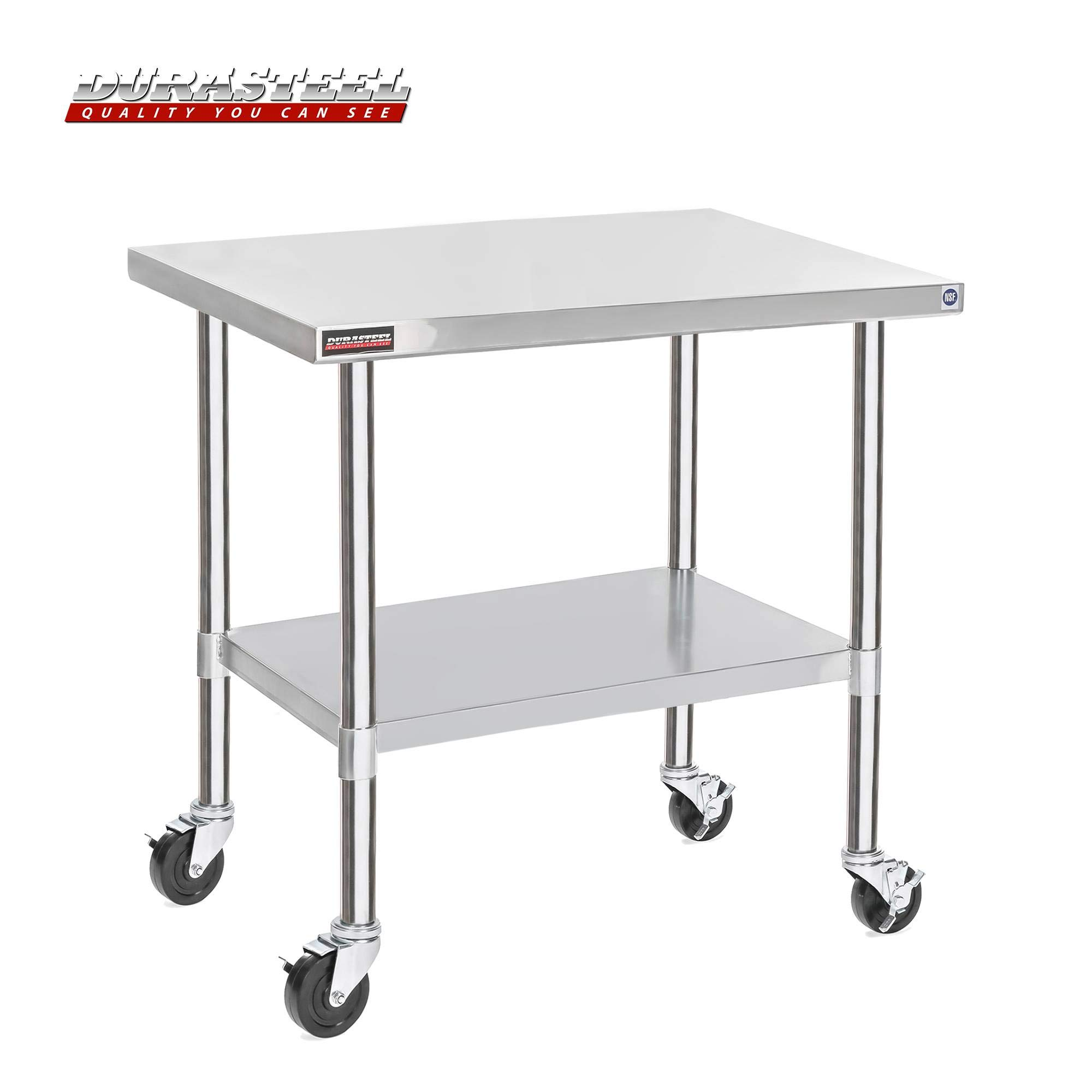 DuraSteel Stainless Steel Work Table 30'' x 48'' x 34'' Height w/ 4 Caster Wheels - Food Prep Commercial Grade Worktable - NSF Certified - Good for Restaurant, Business, Warehouse, Home, Kitchen, Garage