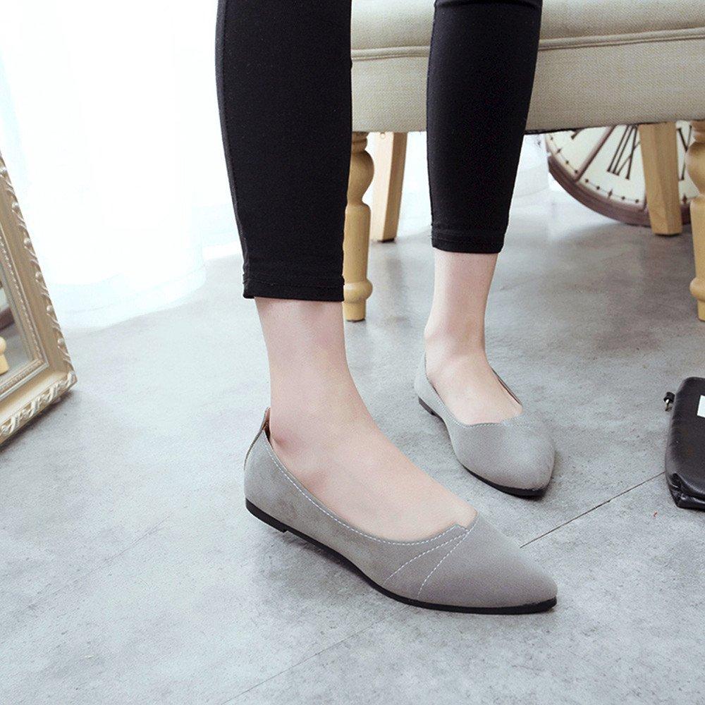 Sunyastor Women's Ballet Comfort Light Faux Suede Multi Color Shoe Flat Pointed Toe Soft Flat Slip-on Fashion Loafer Shoes Gray by Sunyastor Shoes (Image #2)