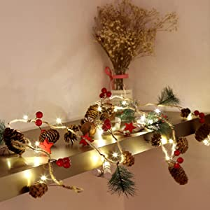 Christmas Battery Operated String Light Red Berry with Star Pinecone 6.56Ft Garland Lights Xmas Decor 20 LED Lights Indoor Outdoor Christmas Holiday New Year Decorations