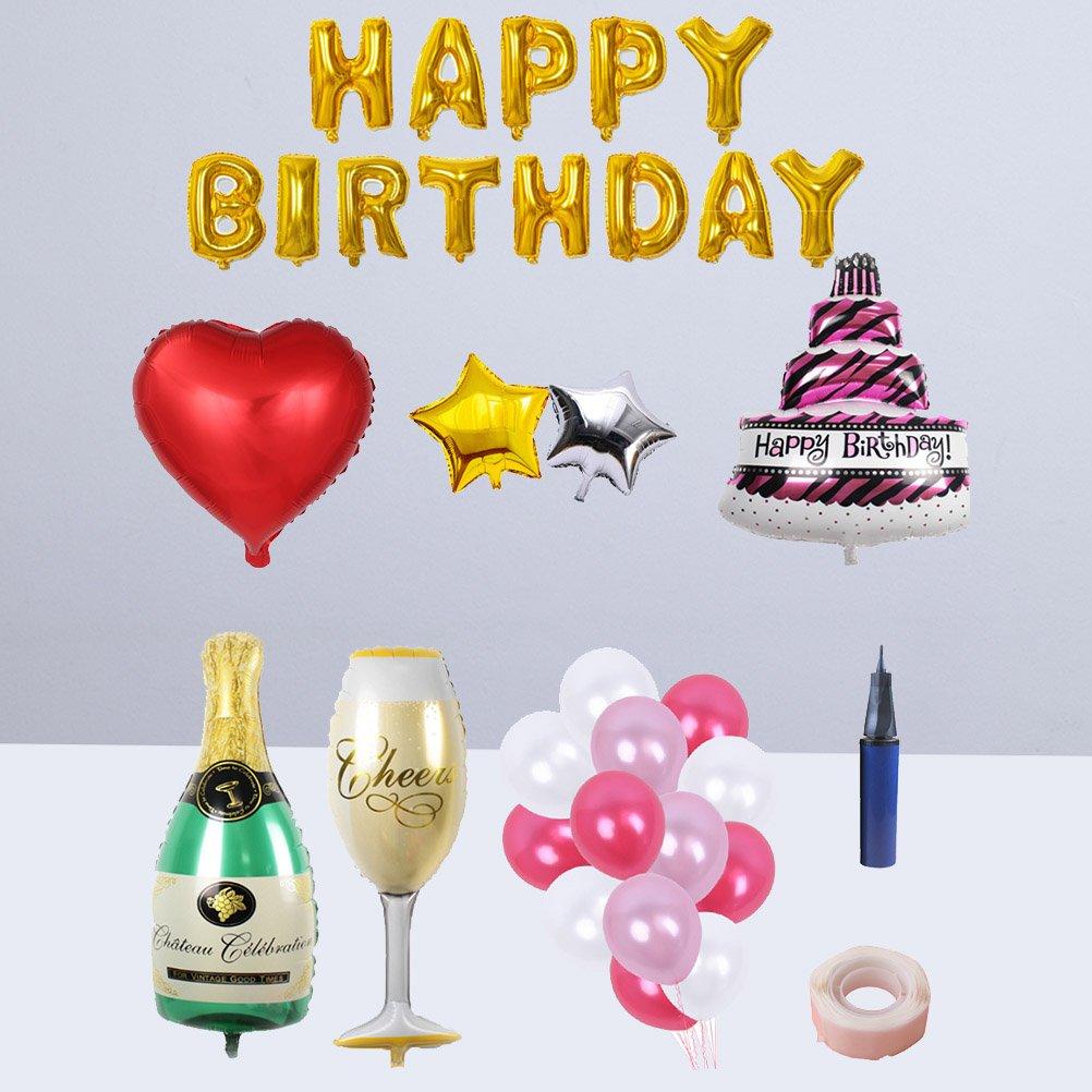 BESTOYARD Happy Birthday Cake Champagne Cup Bottle Foil Balloon Birthday Party Pack by BESTOYARD (Image #8)