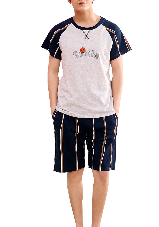 Big Boy Summer Knit Sleepwear Lounge Set Short Sleeve Pajama T-Shirt and Pants