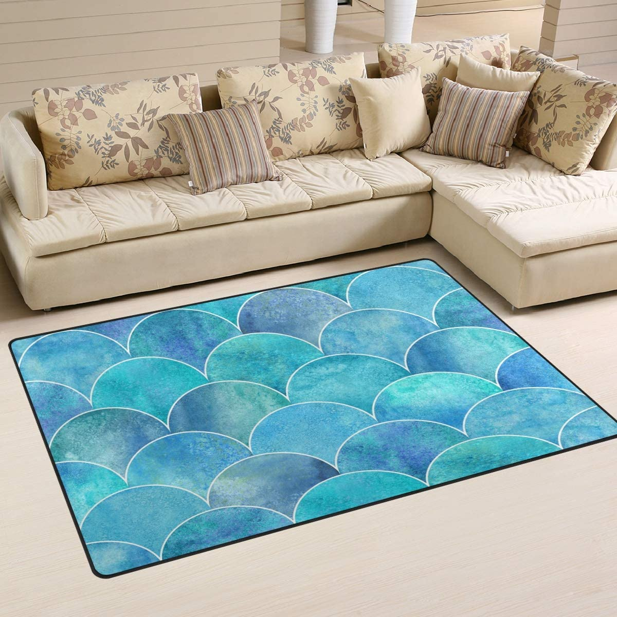 Comfort&products Non-Slip Area Rugs Home Decor, Teal Turquoise Mermaid Scale Floor Mat Living Room Bedroom Carpets Doormats Multi-Size
