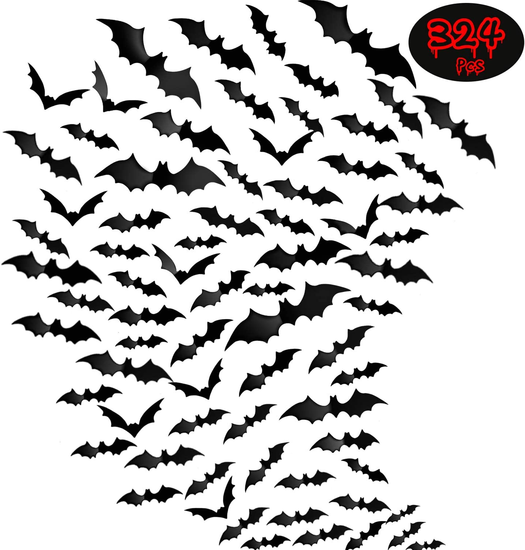 324 Pieces Halloween 3D Bat Scary Bats Wall Sticker Black Bat Wall Decal Waterproof Spooky Bats Craft Window Decor for Halloween Party