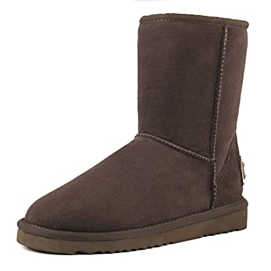 AUSLAND Womens Classic Sheepskin Half Snow Boots Chocolate 2 55 US36  EUR
