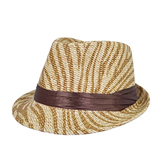 1a8111a5d3b Image Unavailable. Image not available for. Color: Light Brown Zebra Print Ribbon  Band Fedora Straw Hat