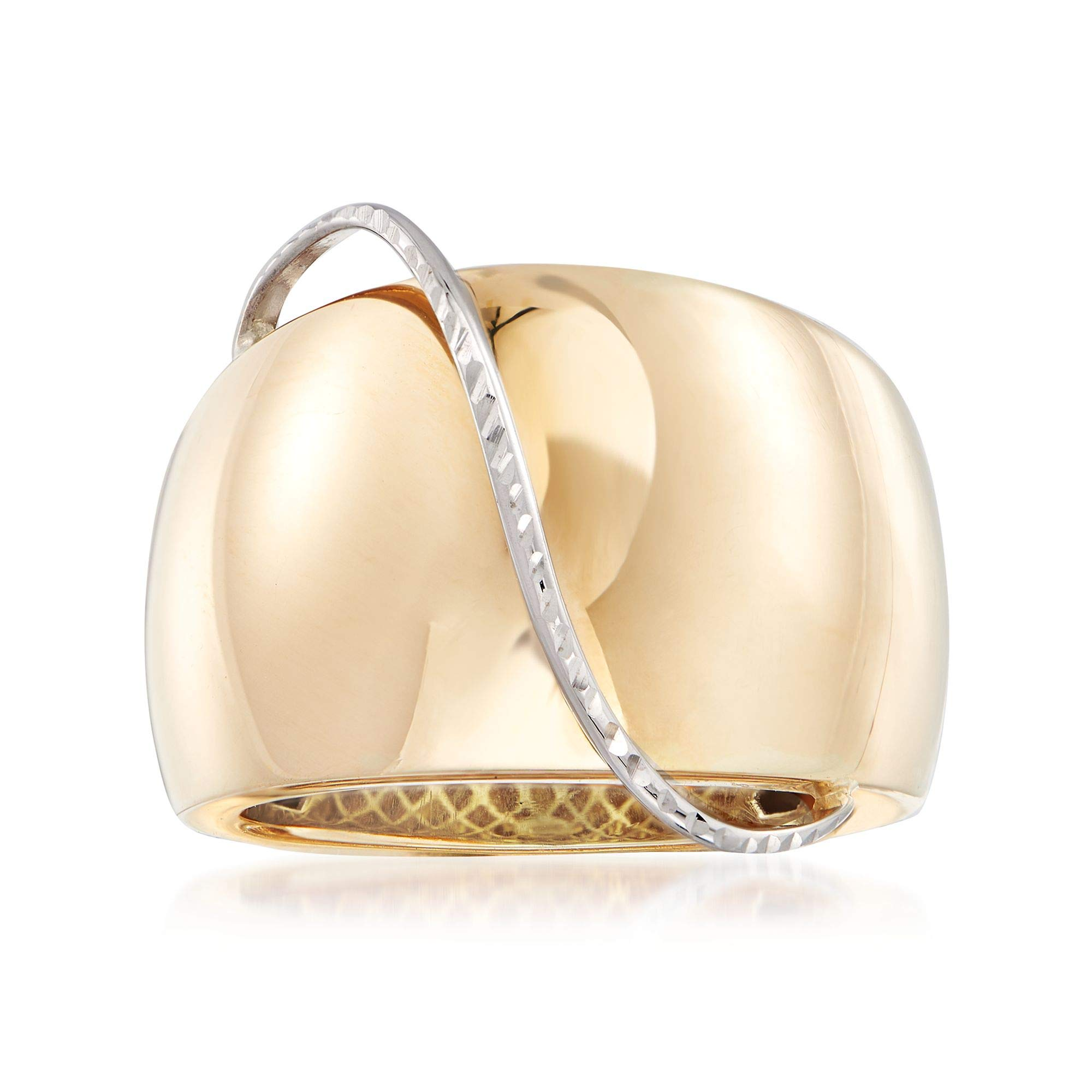 Ross-Simons Italian 14kt Yellow Gold Dome Ring With 14kt White Gold