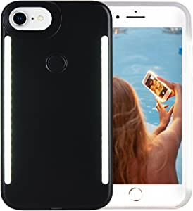 Wellerly iPhone 8 Case, iPhone 7 Case, iPhone 6/6s Case, LED Illuminated Selfie Light Up [Rechargeable] Dual Luminous Flashlight Cell Phone Case Cover for iPhone 8/7 / 6/6s (Black)