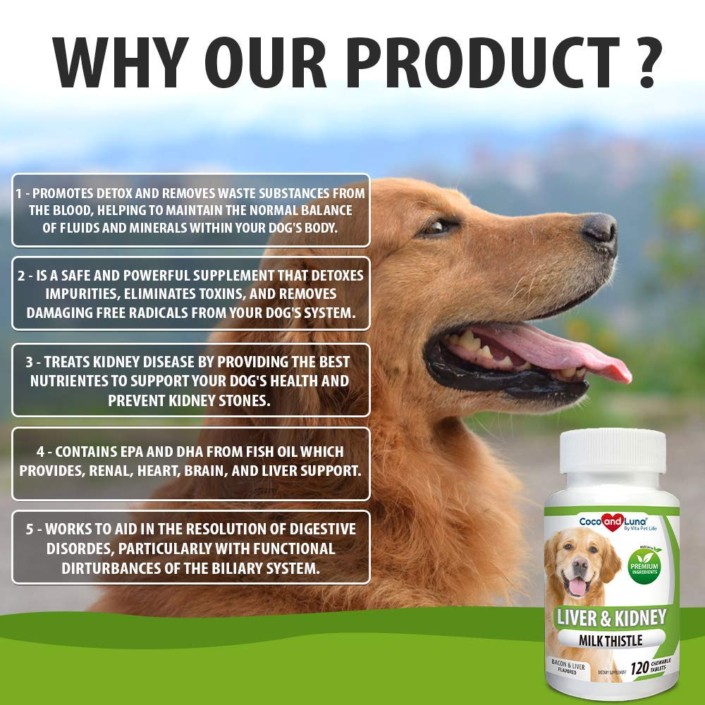 Milk Thistle For Dogs, Liver Support for Dogs, Kidney Support, Detox, DHA, EPA, Hepatic Support, Omega 3 Fish Oil, Vit B1,B2,B6,B12, Kidney Stone Prevention.120 Natural Chew-able Tablets.