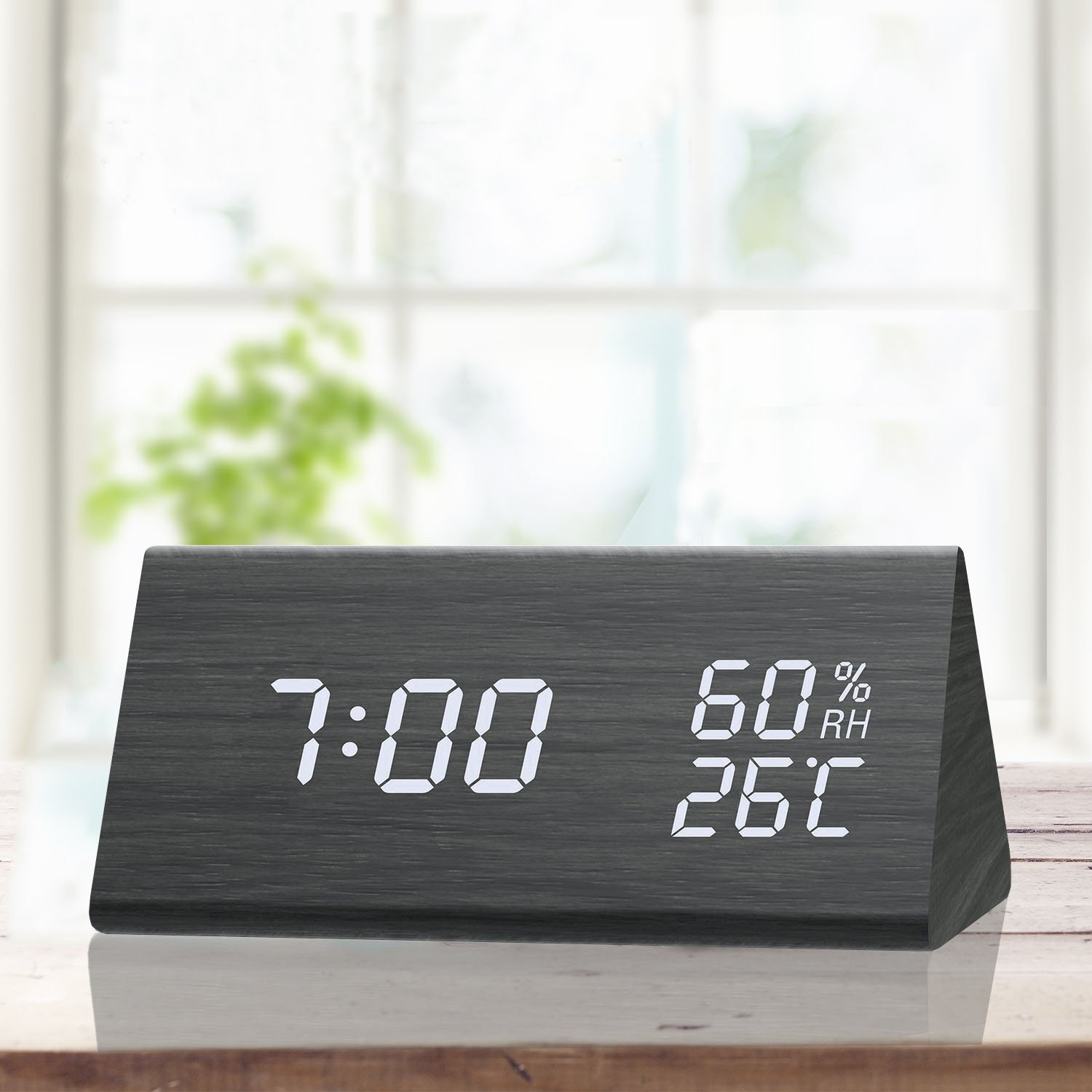 TooTa Digital Clock, 3 Alarm Settings, with Wooden Electronic LED Time Display, Dual Temperature & Humidity Detect, Ideal for Bedroom, Bedside Kids, Batteries not Needed, Black Digital Alarm Clock