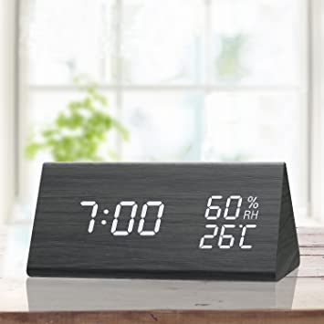 Digital Alarm Clock With Wooden Electronic Led Time Display 3 Alarm Settings Humidity Temperature Detect Wood Made Electric Clocks For Bedroom