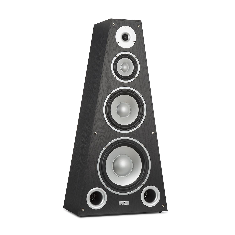 auna SP-800 - Altavoces Hi-Fi, Caja de Altavoces, Tecnología de 4 vías, De 20Hz a 20 kHz, Sensibilidad de 89 dB, Impedancia de 6 Ohm, Forma piramidal, 330 W, Carcasa de Madera, Negro
