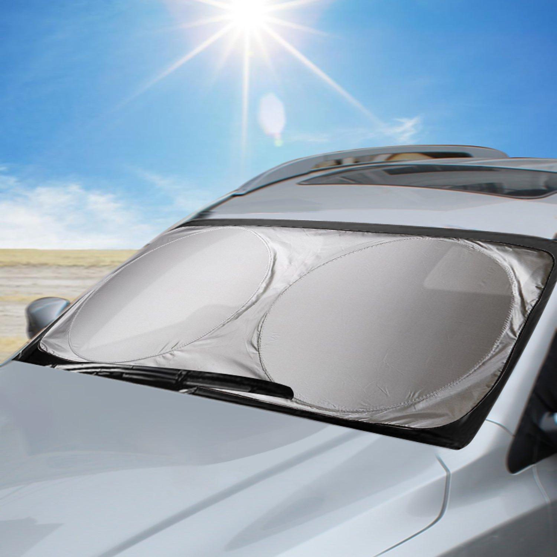 Aodoor Auto Sonnenschutz, Sommer Sonnenschutz Auto Frontscheibe Auto Sonnenblende Super Leichter Antrag und Das Falten von Merkmal fü r Kinder, Hunde und Babys 160*86 cm