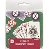 Poker Hand Cardboard Coasters, 8ct