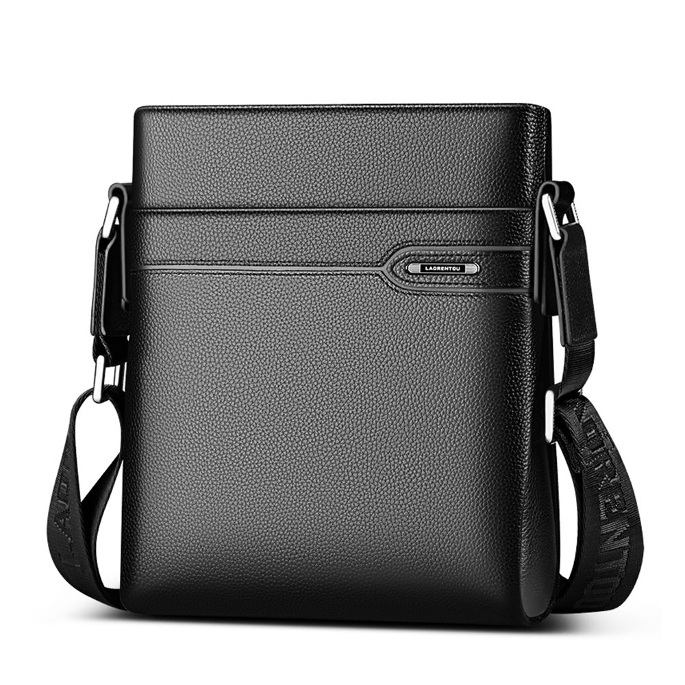 LAORENTOU Men s Genuine Leather Shoulder Bag, Business Crossbody Bag for Men