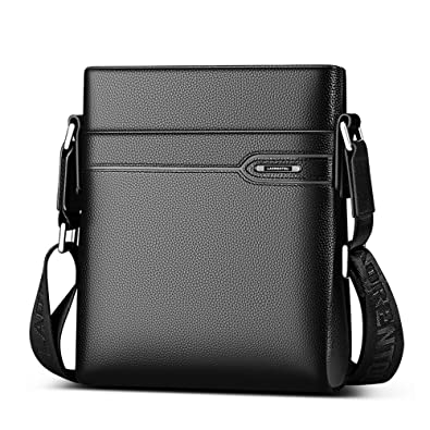 8b9ddaedb44 LAORENTOU Mens Genuine Leather Shoulder Bag Crossbody Bag Business Purse  Messenger Bag for Men