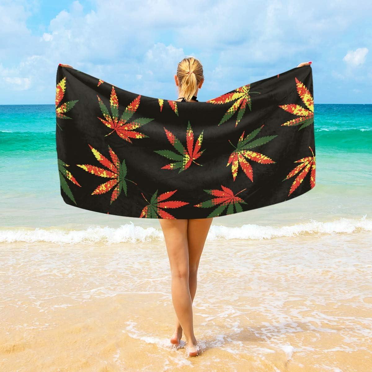 Ahomy Toalla de Playa de Microfibra de cáñamo con Hojas de Marihuana – Toalla de Viaje Ultra Absorbente de Secado rápido para Hombres, Mujeres y niños