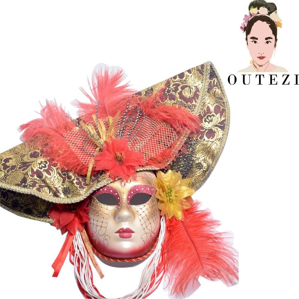 Joker Reale Mask- Handmade Venetian Mask,Mardi Gras Masquerade Masks(Red)