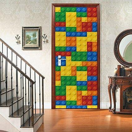 3d Verwijderbare Waterdichte Muurschildering Decoratie Sticker Huisdecoratie Diy Lego Stijl Voor Woonkamer Slaapkamer Studeerkamer Kinderkamer 77x200cm Amazon Nl