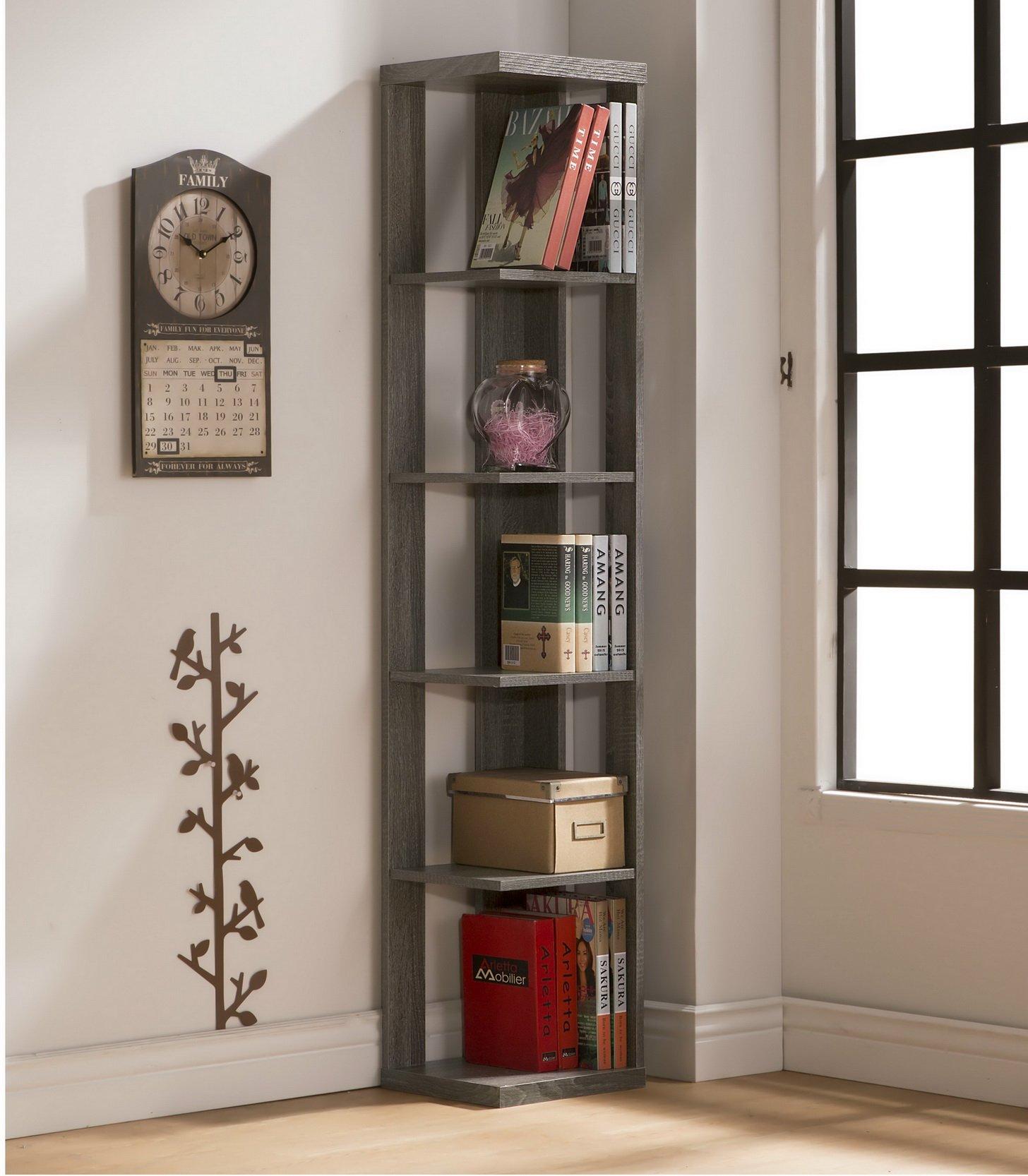 Weathered Grey Finish Wood Wall Corner 5-Tier Bookshelf Bookcase