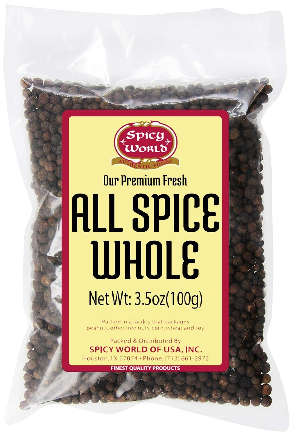 Allspice Whole Berries 3.5 Ounce Bag - by Spicy World (All Spice)