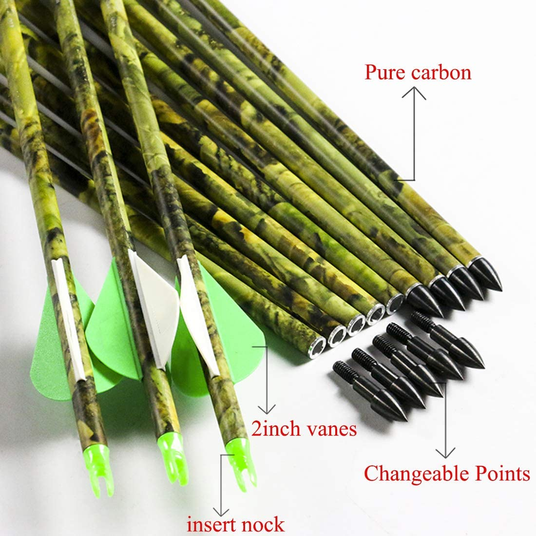 Linkboy Archery Spine 300 400 500 600 Carbon Arrows for Compound Recurve Long Bows Adult Hunting Practice 30 32 Inch Arrow Pack of 12PCS : Sports & Outdoors