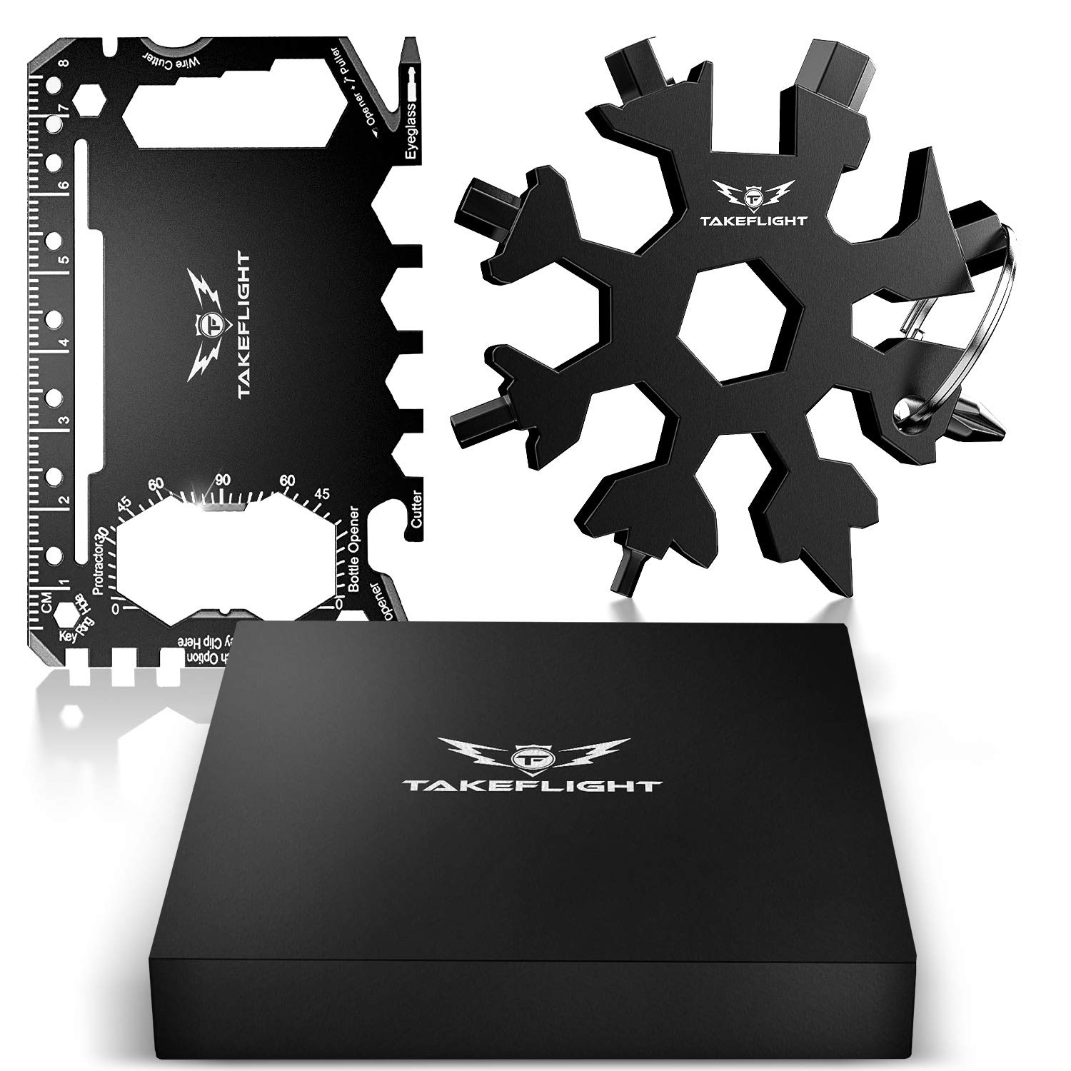 EDC Credit Card Tool Gift Set - Tactical Pocket Tool Gadgets for Men | Screwdriver Snowflake Multi Tool - Wallet Multitool Giftset with Pocket Survival Tools - Survival Gear Accessories in Gift Box