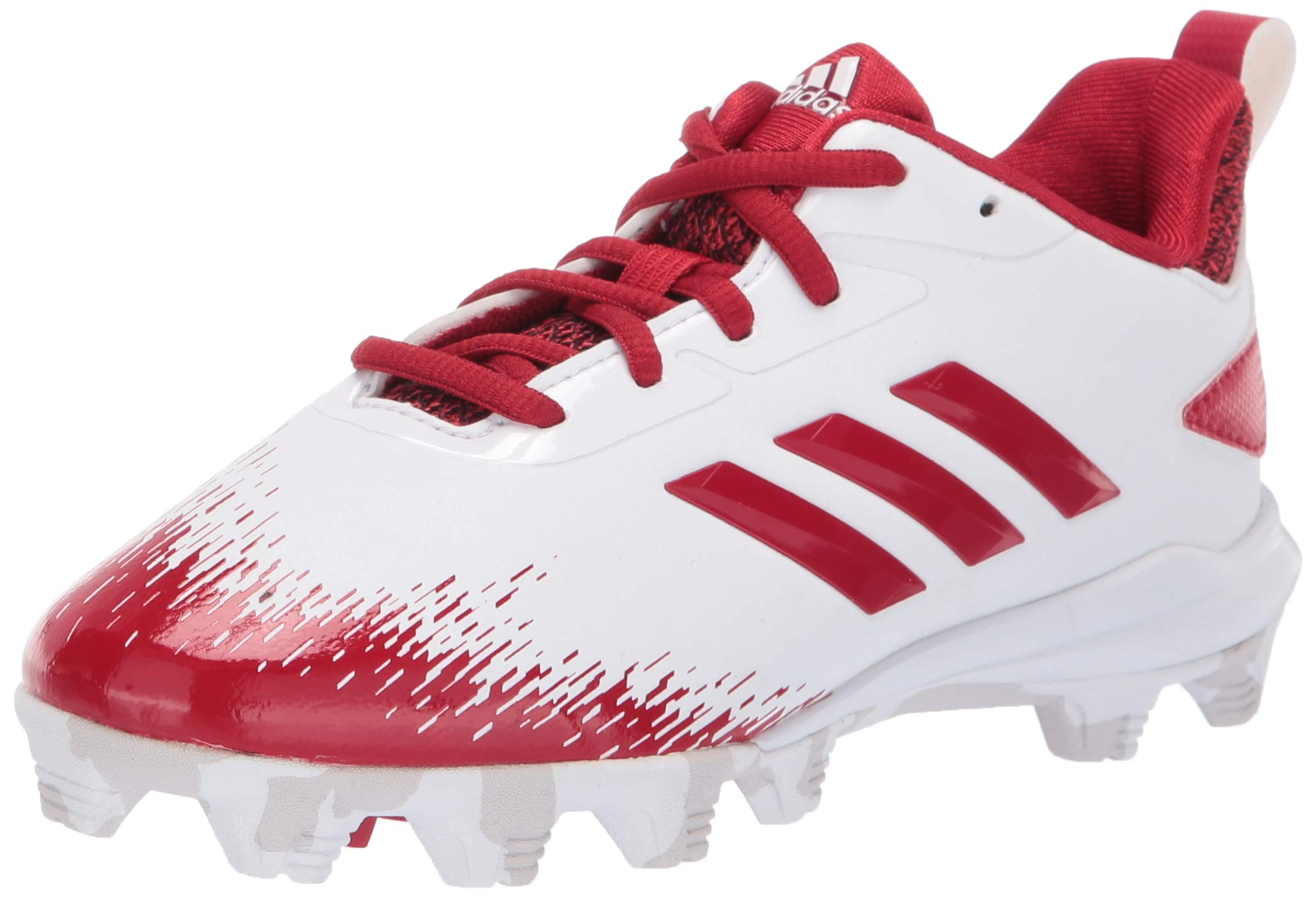 adidas Unisex Adizero Afterburner V Baseball Shoe, White/Power red/Grey, 1.5 M US Little Kid by adidas