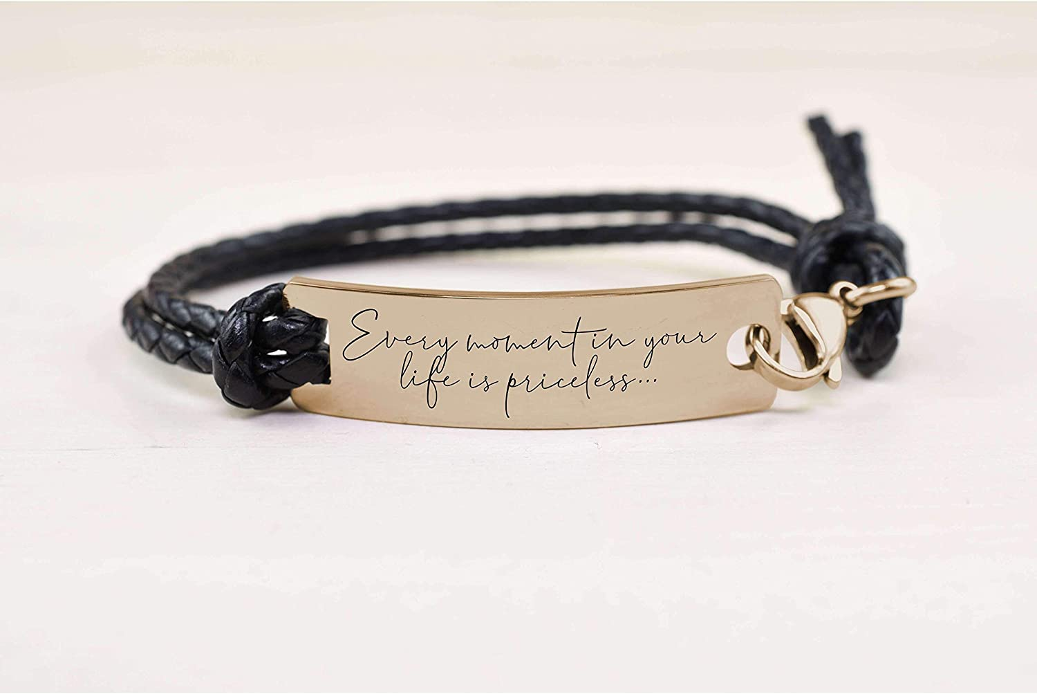 Pink Box Fully Adjustable Braided Leather Inspirational Bracelet Gold Every Moment