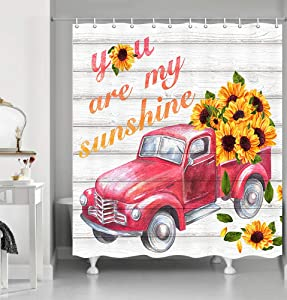 Fall Farmhouse Style Sunflower Shower Curtain, Red Truck with Yellow Flower on Rustic Wooden Fabric Shower Curtain, Inspirational Quote You are My Sunshine Shower Curtain for Bathroom, 69X70in