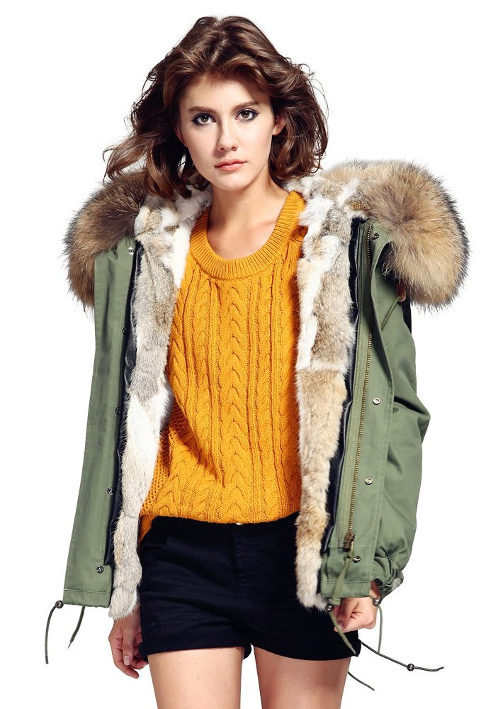 S.ROMZA Women Thick Real Rabbit Fur Parka Hooded Coat Winter Jacket Detachable Fur Trim (Large, Army Green & Tan Fur)
