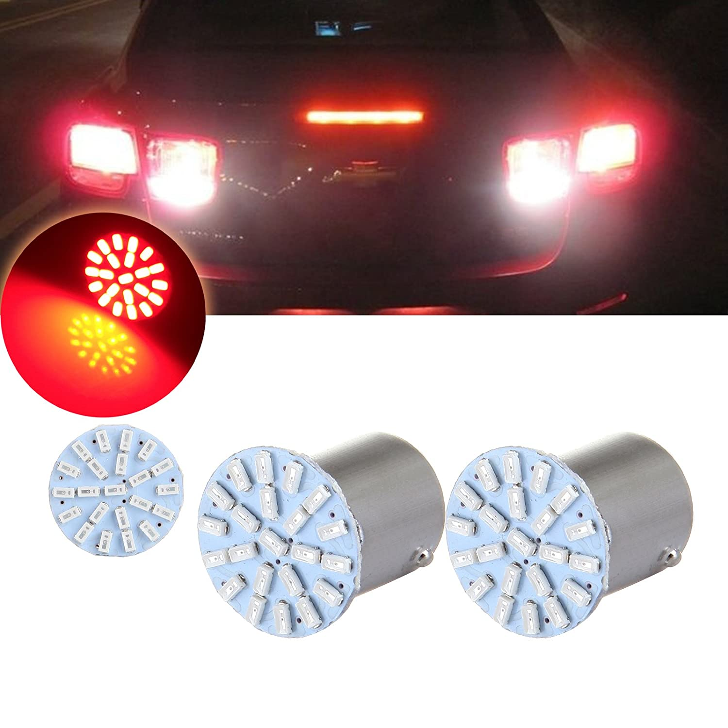 cciyu 2PCS 1156 LED Light Bulbs 22SMD EX Chipsets Red Light Replacement fit for Backup Reverse Light 803775-5210-1008431