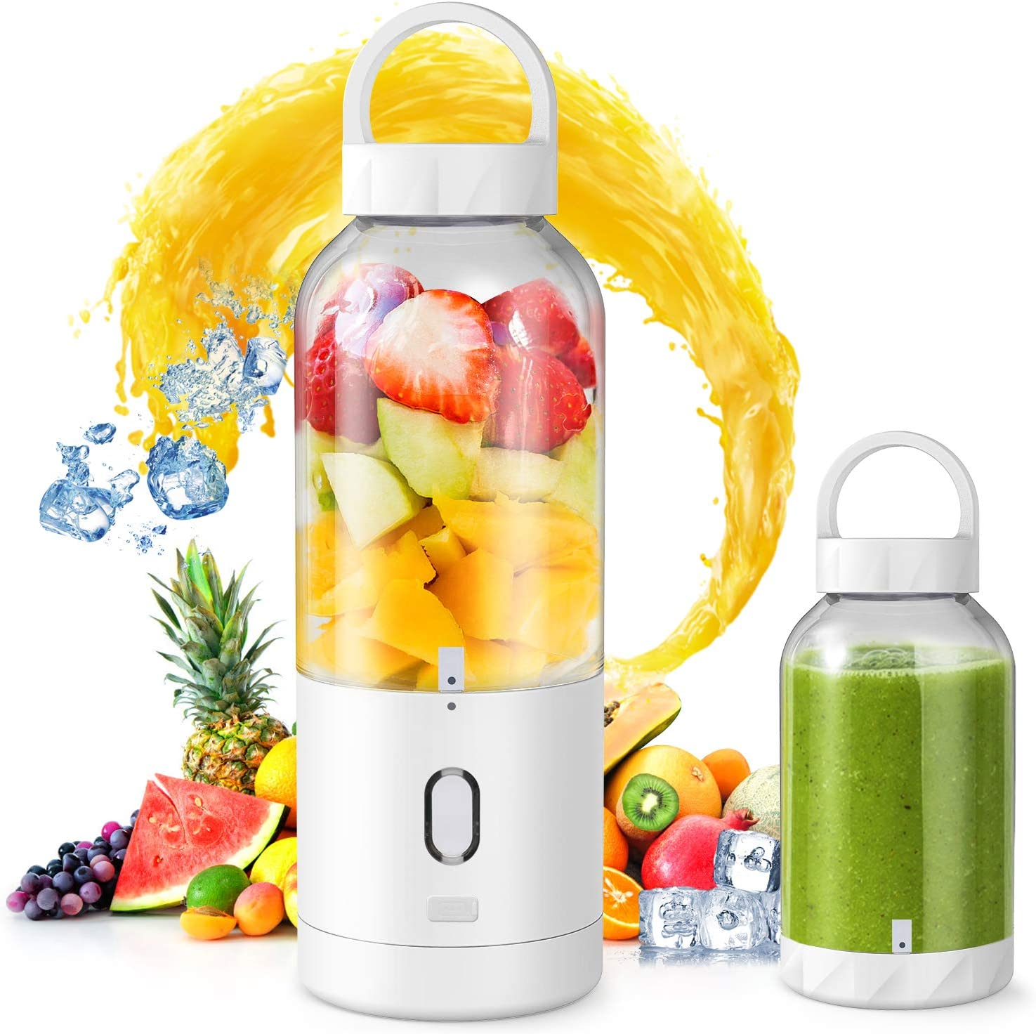Portable Blender, 165W Personal Blender Shakes and Smoothies, USB Rechargeable Mini Ice Crusher with Six Blades Blender for Home, Office, Sports, Travel