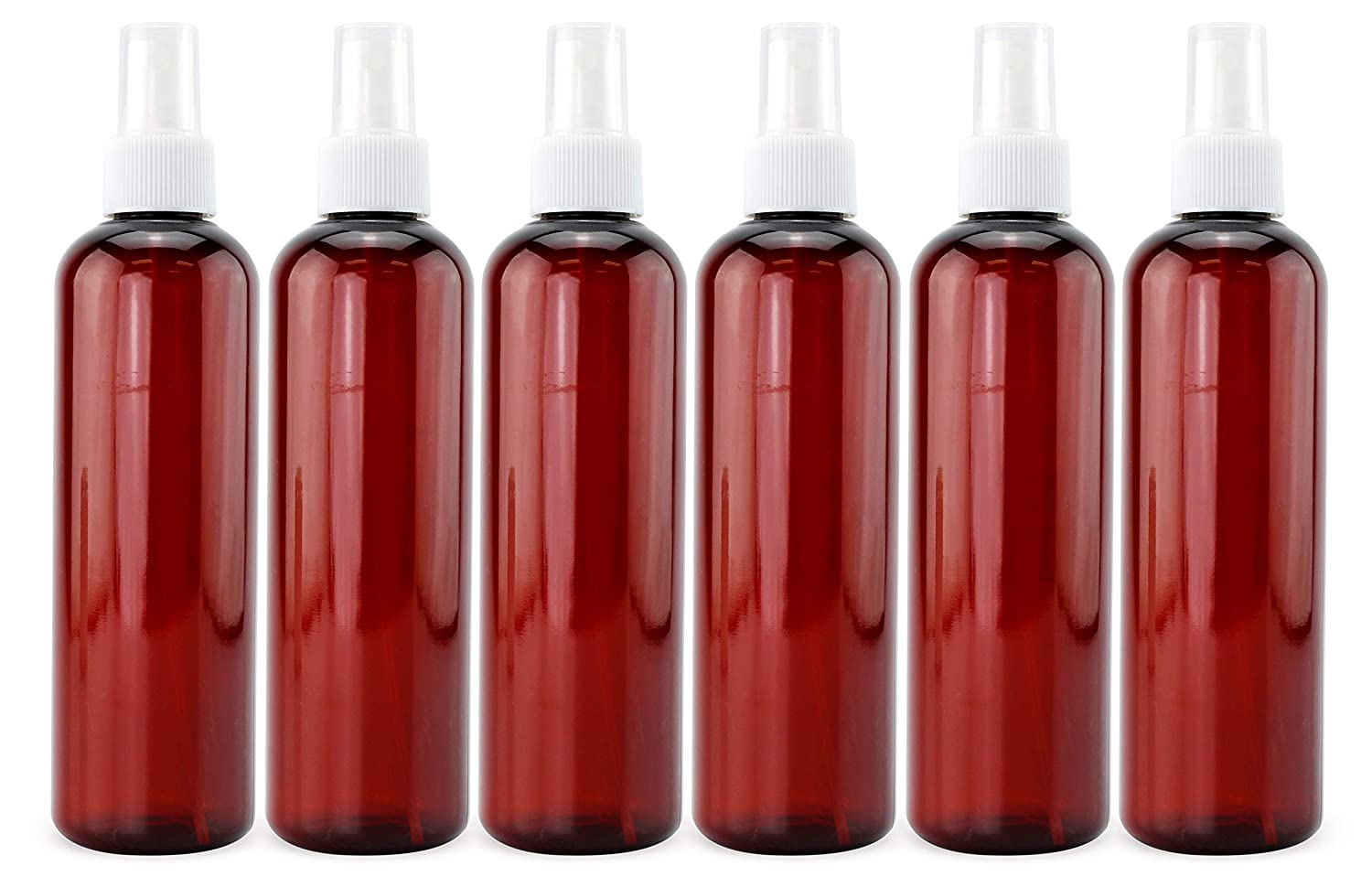 Cornucopia 8oz Amber Brown PLASTIC Spray Bottles with White Fine Mist Atomizers (6-Pack); Brown Plastic Spritzer Bottles for DIY Home Cleaning, Aromatherapy, Beauty Care