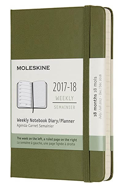 Moleskine 18 Month Weekly Planner, Pocket, Elm Green, Hard Cover (3.5 x 5.5)