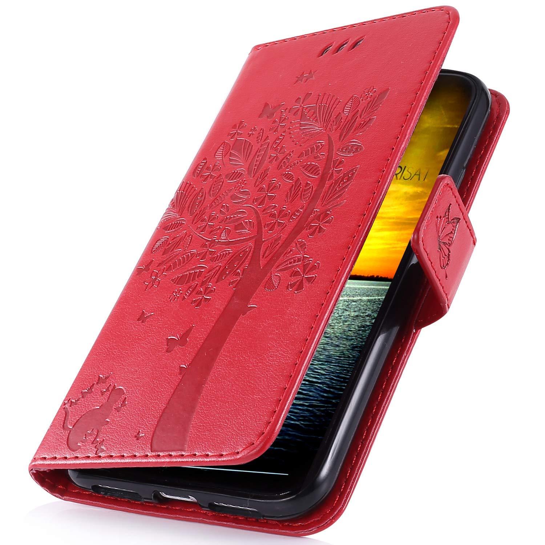 MoreChioce Coque Galaxy J2 Core,Galaxy J2 Core Coque avec Rabat, Retro 3D Chat Gris Relief Portefeuille Flip Case Housse en Cuir Compatible pour Samsung Galaxy J2 Core Étui de Protection Magnétique