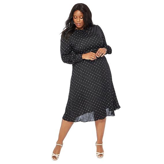 56747ac5b Debenhams The Collection Womens Black Spot Print Plus Size Midi ...