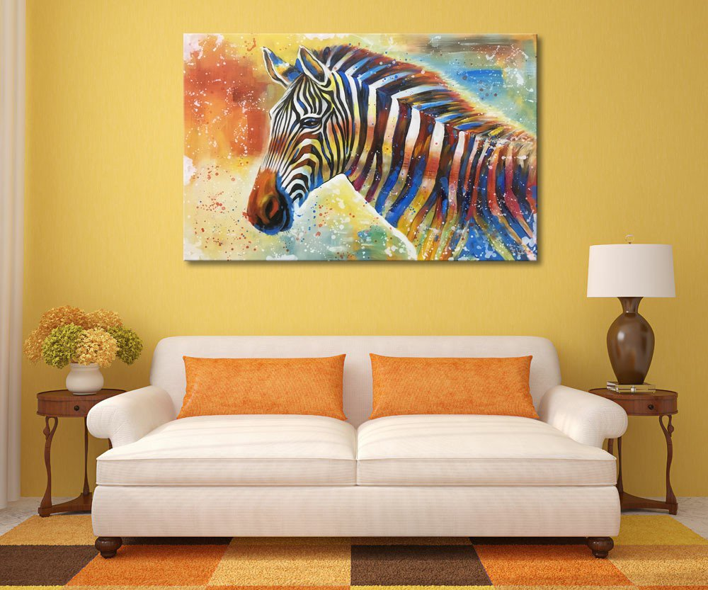 Amazon.com: Everfun Zebra Canvas Painting Hand Painted Animal Oil ...