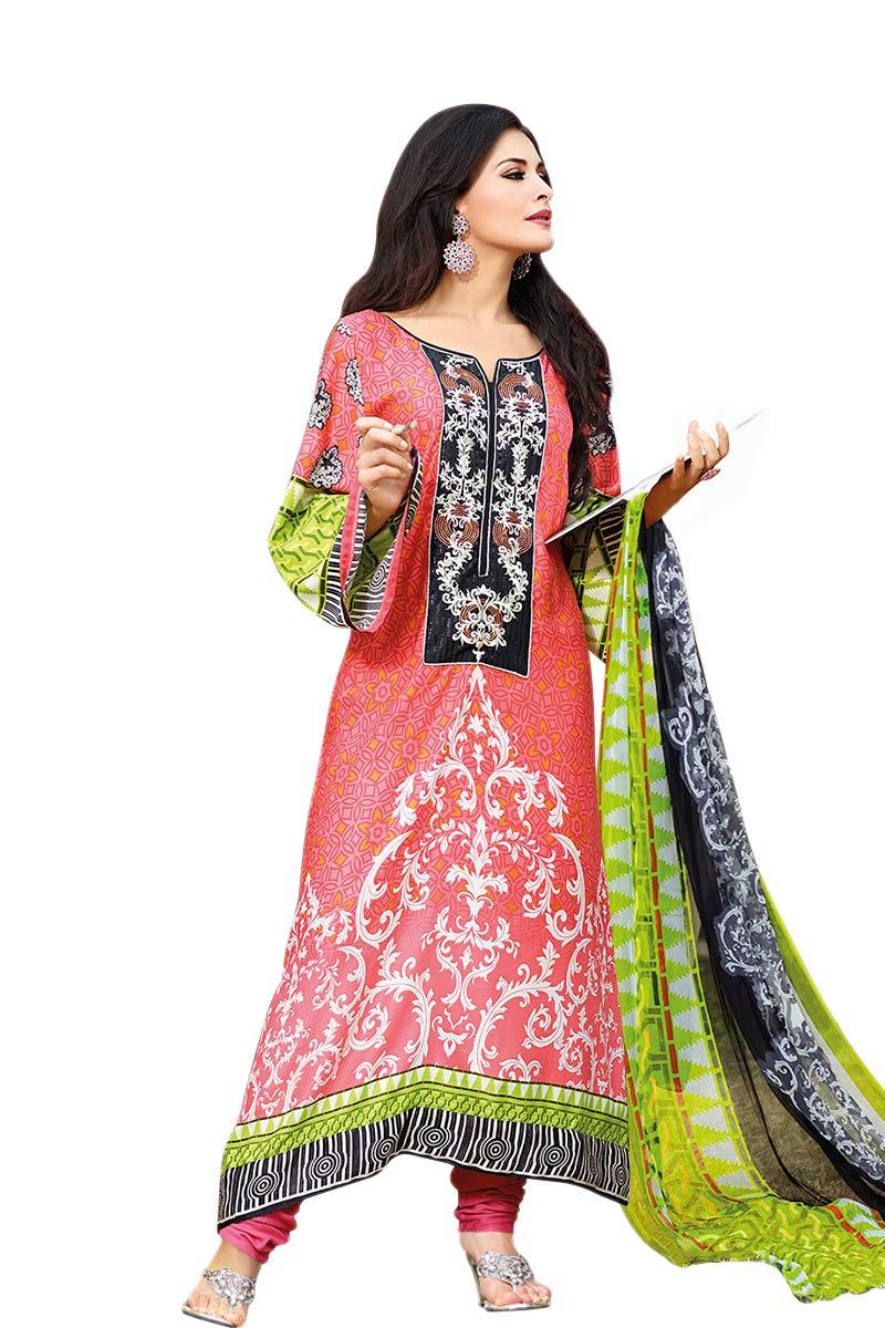 Cotton Embroidered Long Kameez & Churidar Straight Salwar Suit, Indian Pakistani Dress SMB-110 (L, Design-A)