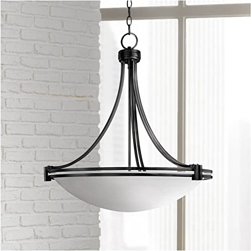 Deco Oil Rubbed Bronze Pendant Chandelier 24 1 4 Wide Modern White Marbled Bowl Glass 5-Light Fixture for Dining Room House Foyer Kitchen Island Entryway Bedroom Living Room – Possini Euro Design
