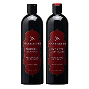 Marrakesh Nourish Shampoo + Hydrate Conditioner, Original Scent - 25 fl. oz. - Morrocan Argan Oil, Hemp Seed Oil - Clean & Moisturize Hair for a Silky, Shiny Look - Vegan, Cruelty Free
