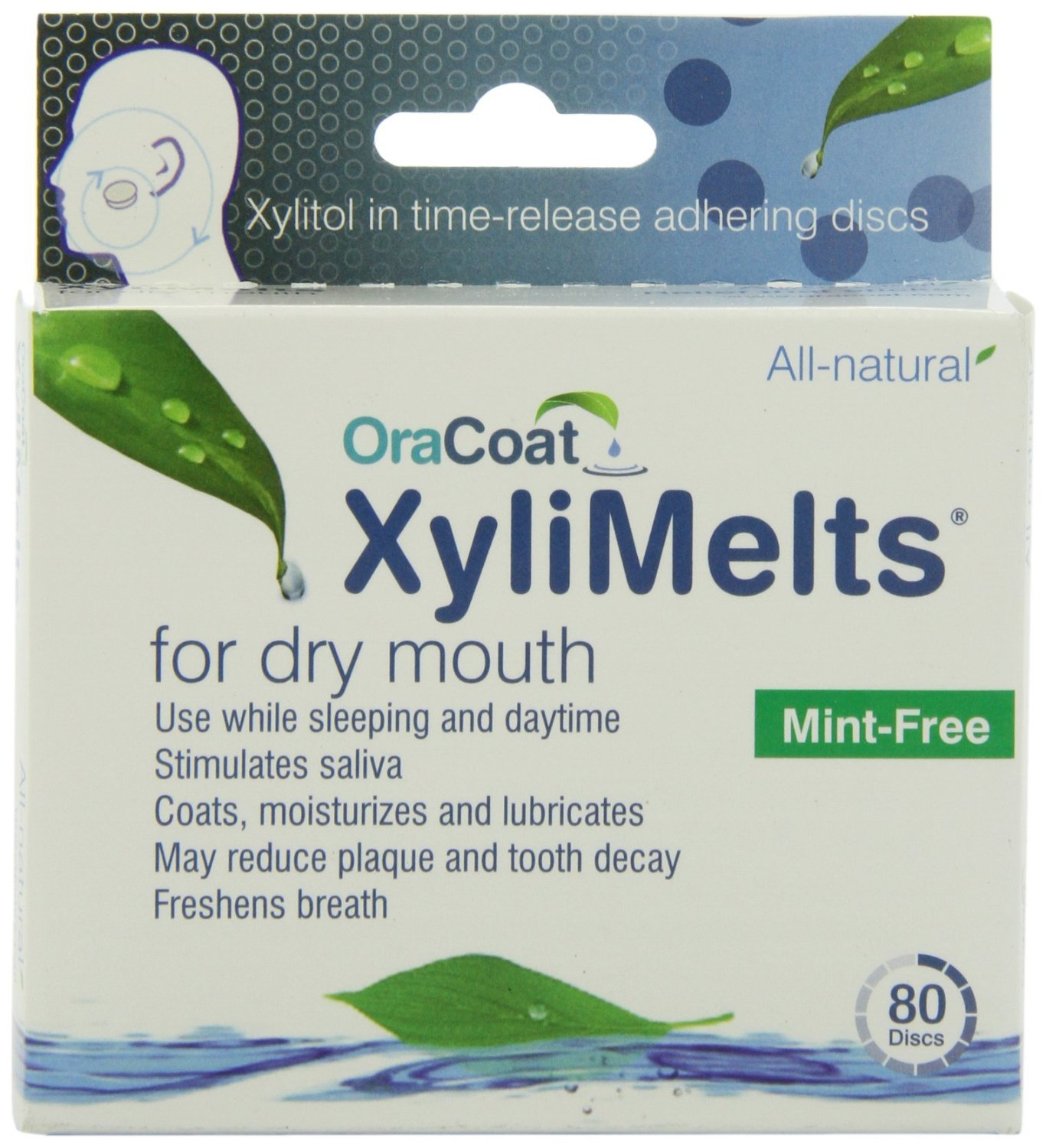 XyliMelts for Dry Mouth, Mint-Free, 80-Count Boxes (Pack of 2)