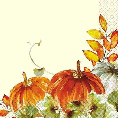 "Unique Watercolor Fall Pumpkins Lunch Napkins 6.5"", Ct.: Toys & Games"
