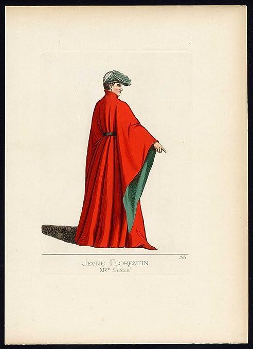 Antiguo ThePrintsCollector cruzerlite-Florencia-Italia-traje-14th ...
