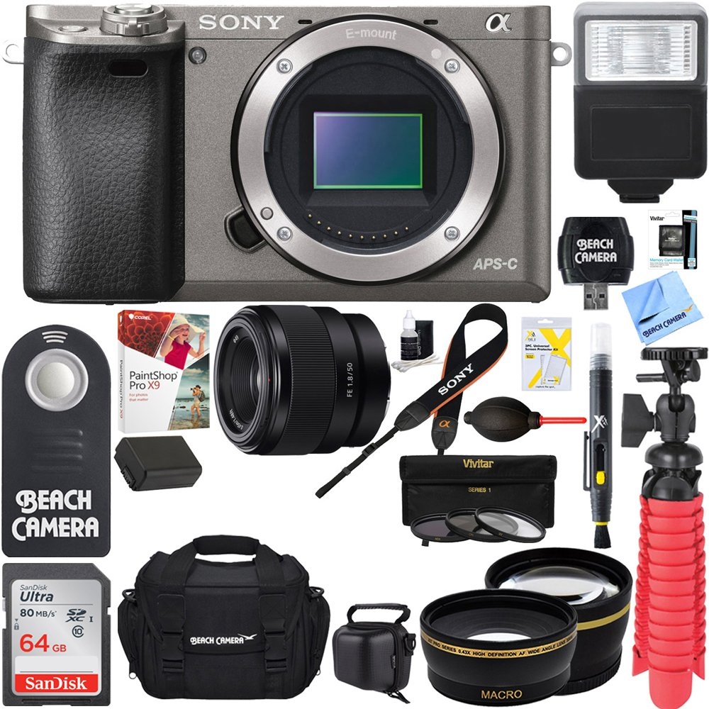Sony Alpha a6000 24.3MP Grey Mirrorless Camera with 50mm Full-Frame Prime E-Mount Lens + Sandisk Ultra SDXC 64GB UHS Class 10 Memory Card + NP-FW50 Battery Pack + Accessory Bundle by Beach Camera